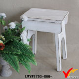 Tabouret en ranch rectangulaire en bois antique