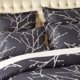 120 GSM Ultra softly Duvet Cover set with Zipper Closure Branch and Plum Blue printed Pattern