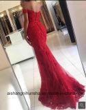 Платье вечера Mermaid красное Appliques официально платья знаменитости