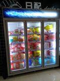 Congelés porte en verre d'affichage congélateur vitrine