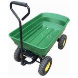 Reboque verde do vagão basculante do carro de jardim