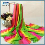 Chiffon- Silk Foulard der Verkaufsförderungs-Druck-Blumen-Schal-Frauen Schal
