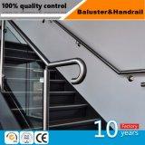 Escalera de acero inoxidable pasamanos con abrazadera de vidrio