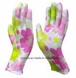 Цветные с Flowes PU покрытием полиэстер трикотажные рабочие перчатки