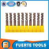 Las flautas Polished del carburo de tungsteno 3 ajustan el molino de extremo para el aluminio