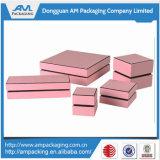 Venta al por mayor rosada de lujo de la caja de joyería del regalo del papel del color