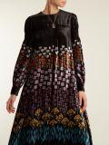 Vestimenta musulmana el vástago de la flor de terciopelo de impresión vestido Vestido de manga larga vestidos de moda