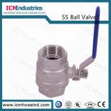 Aço inoxidável 2PC 304 a válvula de esfera com alças de trava azul