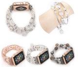 Kurzes stilvolles elegantes Rhinestone-weiße Raupe-Uhrenarmband für Apple-Uhr
