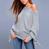히스속의 식물 회색 Lace-up 스웨터