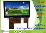 Alto brilho 4.3 polegadas Monitor LCD de ecrã táctil a colagem 480x272 Módulo LCD a cores