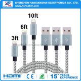 cabo cobrando dos dados trançados de nylon do USB 2.1A para o iPhone