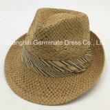 Sombrero de paja de papel con la venda de la corona del algodón (Sh048)