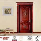 Puerta de madera interior de madera natural delantera para casas (GSP2-069)