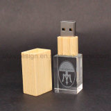 Houten GLB Crystal USB Flash Drive met Your 3D Logo (ul-C003)