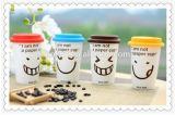 taza de café de cerámica del recorrido de la sonrisa 450ml con la tapa del silicón