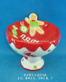 Supporto di ceramica dipinto a mano della caramella per la decorazione di natale