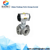 Válvula de esfera 3-Way ativa do dobro pneumático
