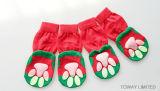 反スキッドの印刷の足のクリスマスの緑犬はペット靴を強打する