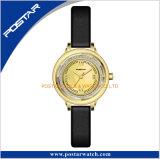 둥근 다이아몬드 황금 얇은 가죽끈 석영 숙녀 시계