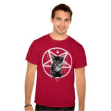 T-shirt en travers inversé de chat de Pentagram