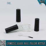 Glasflasche mit Nagellack-Schutzkappe und Kapazitäts-leerer Nagellack-Flasche des Pinsel-5ml