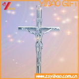 Antikes/Retro Kirche-/Ausgangsdekoration-katholisches Kreuz, tragbares frommes Metallstehendes Kruzifix