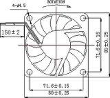ventilador sem escova da C.C. de 12V 80X80X10mm com aprovações