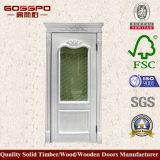 Porta de madeira do quarto da pintura branca com vidro geado (GSP3-042)