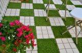 Respaldo permeable el verde césped sintético mosaico de revestimientos de piso exterior