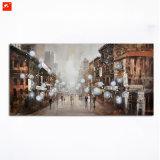 Pintura abstracta del paisaje de la calle de la ciudad sobre lienzo