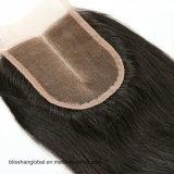 Encierro tres/libres/parte media del cordón del pelo 3.5X4 de la dicha de la tapa del encierro suizo del cordón de la Virgen del pelo humano de los pedazos peruanos rectos de los encierros