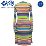 Multicolor Horizontal-Strips Long-Sleeve encolure en V décussées sexy robe fashion Mesdames