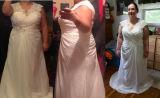 Шнурок оптовой цены связывает шифоновое безрукавный плюс платье венчания размера