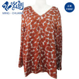Roter Blumendruck V-Stutzen reizvolles Form Dame-Kleid