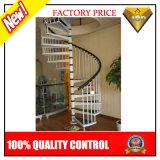 Escadaria da espiral do aço inoxidável com etapa de madeira