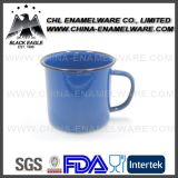 Tasse promotionnelle 12oz Blue Colored Émalte avec des points blancs