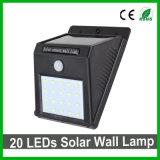 Lampada da parete solare impermeabile del giardino di buona qualità 20LEDs LED con il sensore di PIR