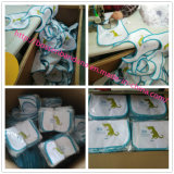 Il marchio su ordine ricamato ha stampato la busbana francese infantile promozionale del Drool del bambino del panno del Terry Jersey del cotone