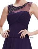 Cetim das mulheres que perla o vestido elegante Sleeveless do baile de finalistas do partido de noite