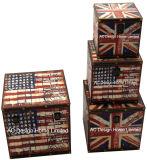 S/4装飾の骨董品型のエッフェル塔デザイン正方形の印刷PU Leather/MDFの木の記憶のトランクボックス
