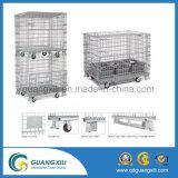 Metallo di memoria del magazzino che piega impilando le gabbie della rete metallica con le rotelle