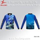 Commercio all'ingrosso della fabbrica dell'OEM di Healong qualsiasi camice della protezione solare di pesca di sublimazione di marchio