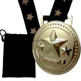 Medalha do prêmio de ouro personalizado 2017 com saco de presente de veludo preto