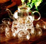 ガラスギフトのティーセットのガラス製品のガラス鍋およびコップ
