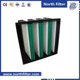 Миниый плиссированный фильтр V-Крена с пластичной рамкой
