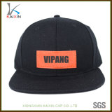Chapéus pretos do Snapback do painel de couro por atacado da correção de programa 6