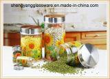 frasco de vidro do armazenamento do agregado familiar do decalque de 3PCS 800ml-200ml com tampa do metal
