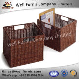 Well Furnir Household Storage Cestas de PE de vime com 2 Handle Easy Portable