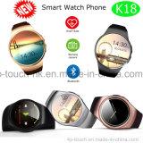 De ronde Telefoon van het Horloge van Bluetooth van het Scherm Slimme met het Tarief van het Hart K18